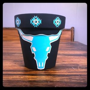 New Southwest Steer Turquoise Flower Pot